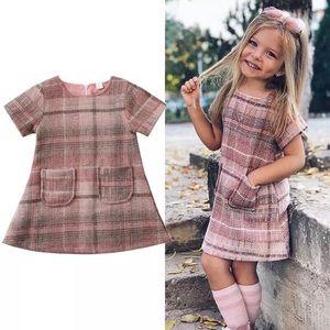 Boutique Girls Pink Plaid Dress